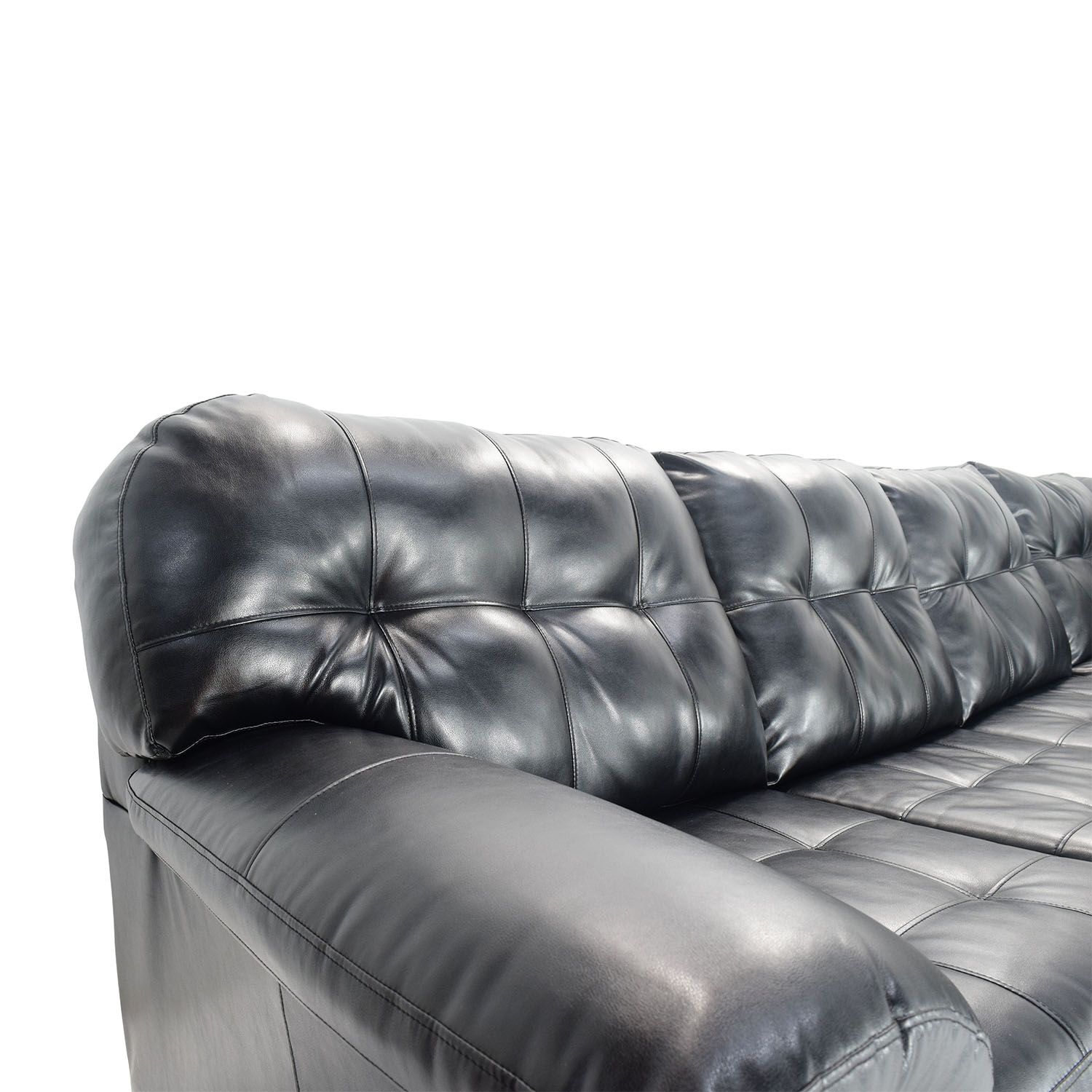 sectional sofas recliners the sofa bed store 51% off - bobs furniture black faux leather /