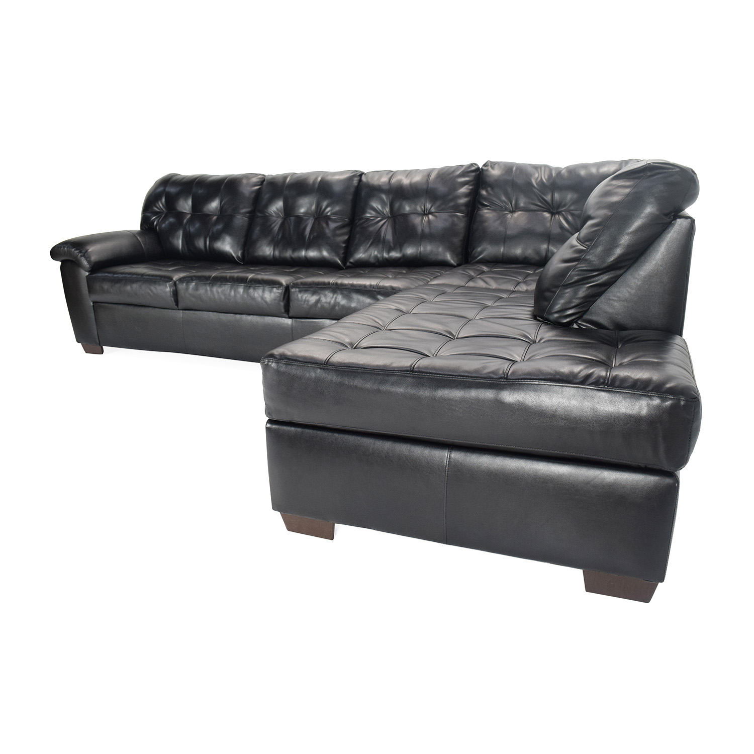 51 OFF  Bobs Furniture Black Faux Leather Sectional  Sofas