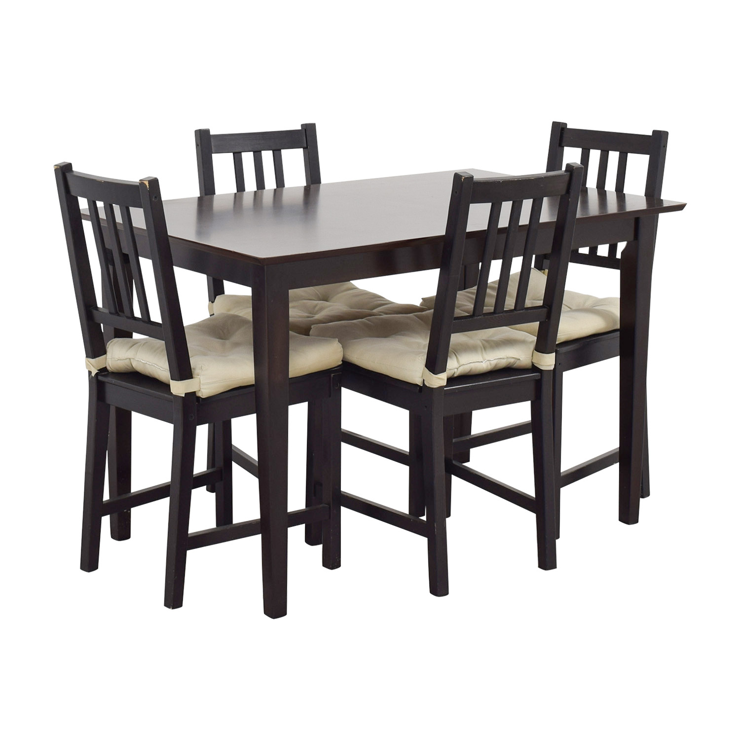 ikea wooden dining table 4 chairs overstuffed with ottomans 63 off brown wood set tables