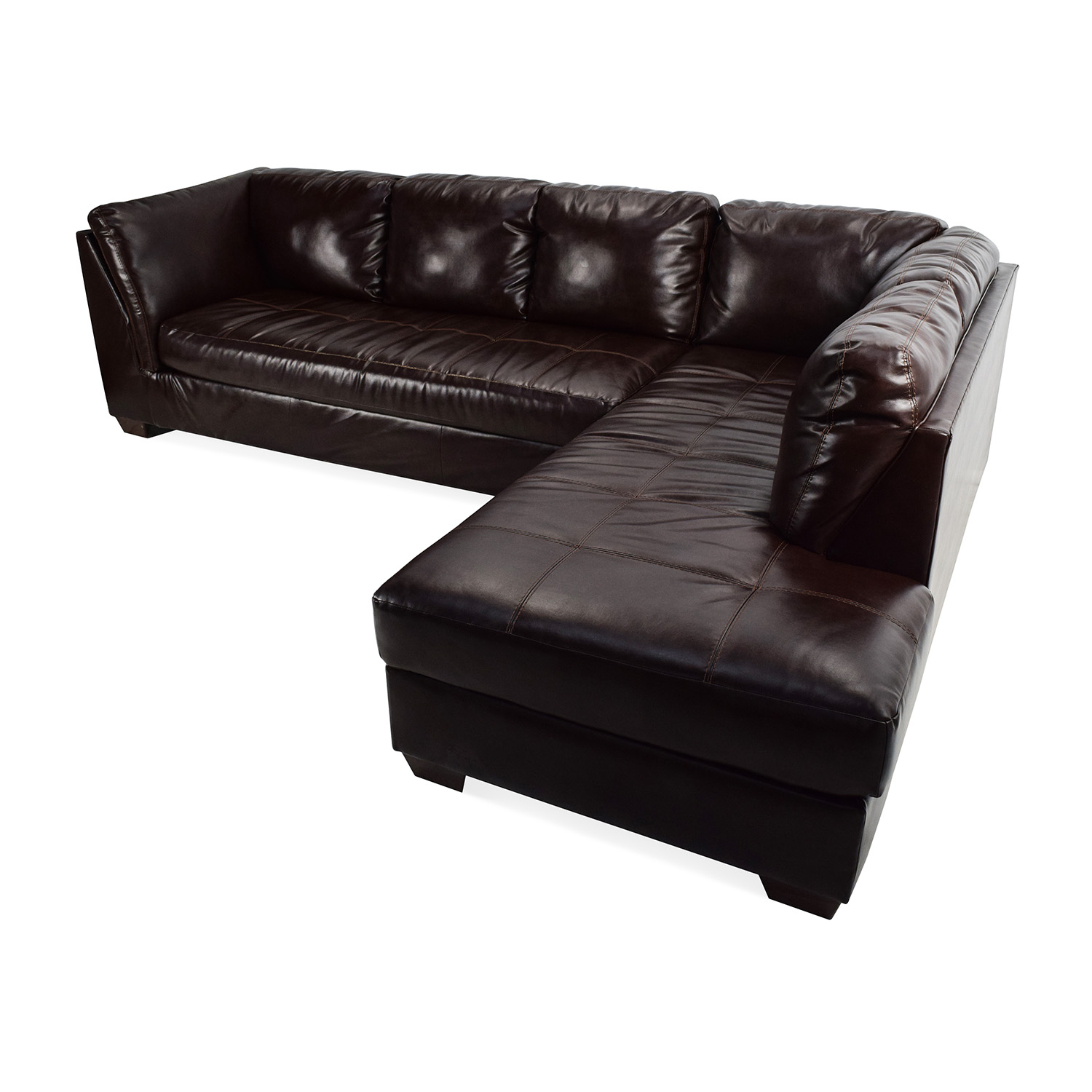 dark brown sectional sofa chaise black leather suites 75% off - jennifer convertibles ...