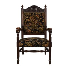 Antique Accent Chair Wooden With Steel Legs Upholstered Chairs Furniture