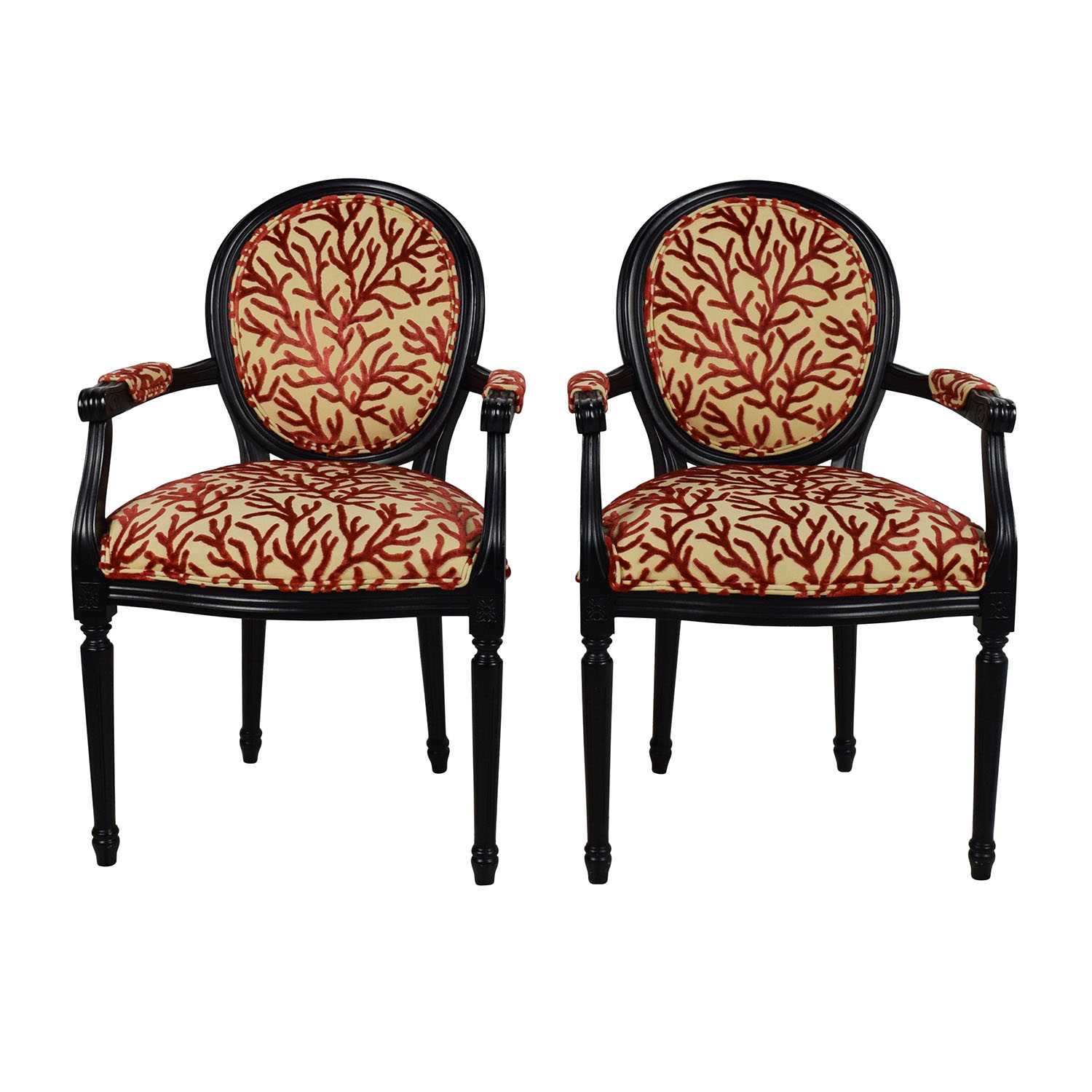 ballard designs upholstered dining chairs chair covers for banquet 84 off oval back louis