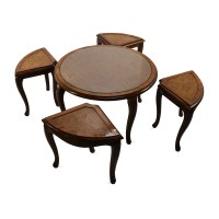69% OFF - Round Glass Top Coffee Table with 4 Nesting ...