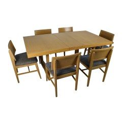 Dining Table Set 6 Chairs Round Counter Height And 59 Off Mid Century Extension Six