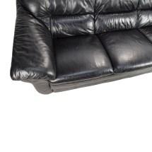 Italian Natuzzi Leather Sofa Black - Year of Clean Water