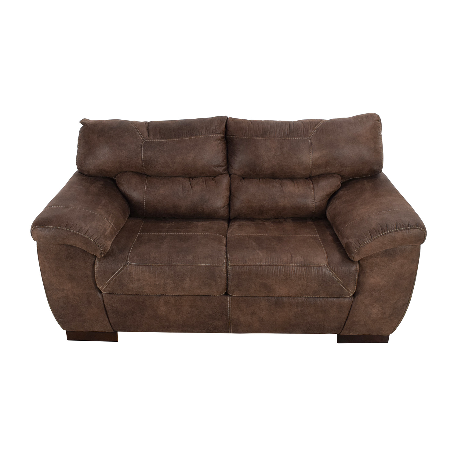 jennifer convertible sofas on sale reupholstering sofa cushions 50 off brown roll arm leather loveseat