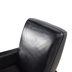 Natuzzi Swivel Chair Wooden Circle With Cushion 90 Off Black Leather