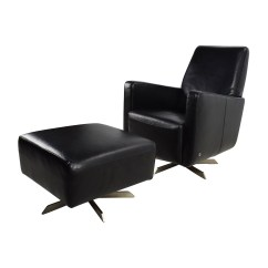 Black Leather Office Chair High Back Covers And Linens 90% Off - Natuzzi Swivel With Ottoman / Chairs