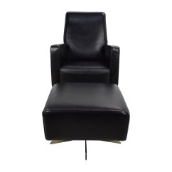 Black Chair And Ottoman Cream Painted Dining Table Chairs 90 Off Natuzzi Leather Swivel With