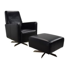 Black Chair And Ottoman Swing For A Bedroom 90 Off Natuzzi Leather Swivel With