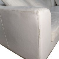 82% OFF - White Leather Sectional Couch / Sofas