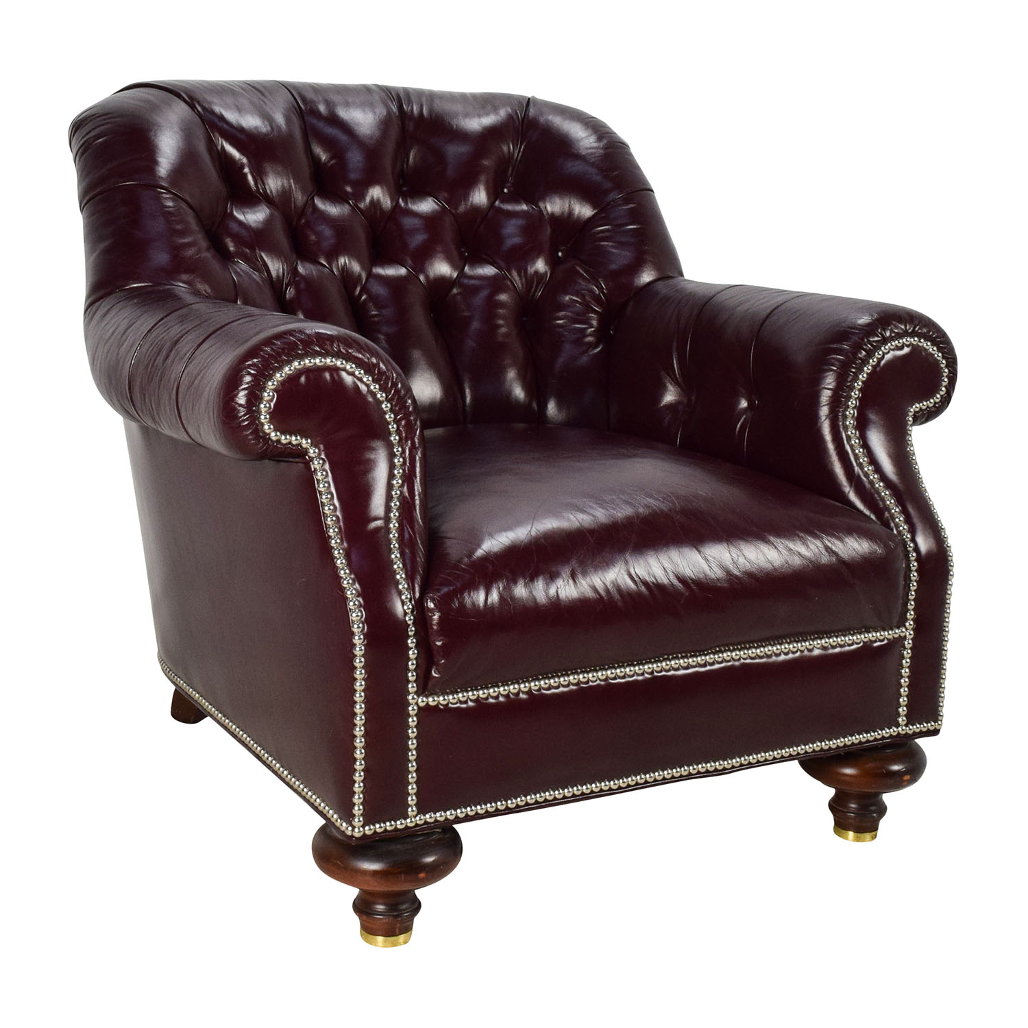 90 OFF  Baker Furniture Baker Tufted Leather Lounge Chair  Chairs