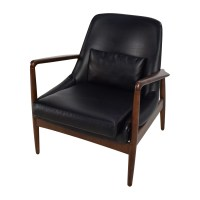 62% OFF - Black Leather Lounge Chair / Chairs