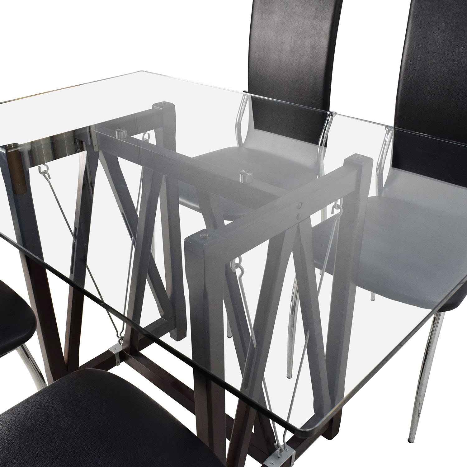 Glass Tables And Chairs 61 Off Glass Top Dining Table And Leather Chairs Tables