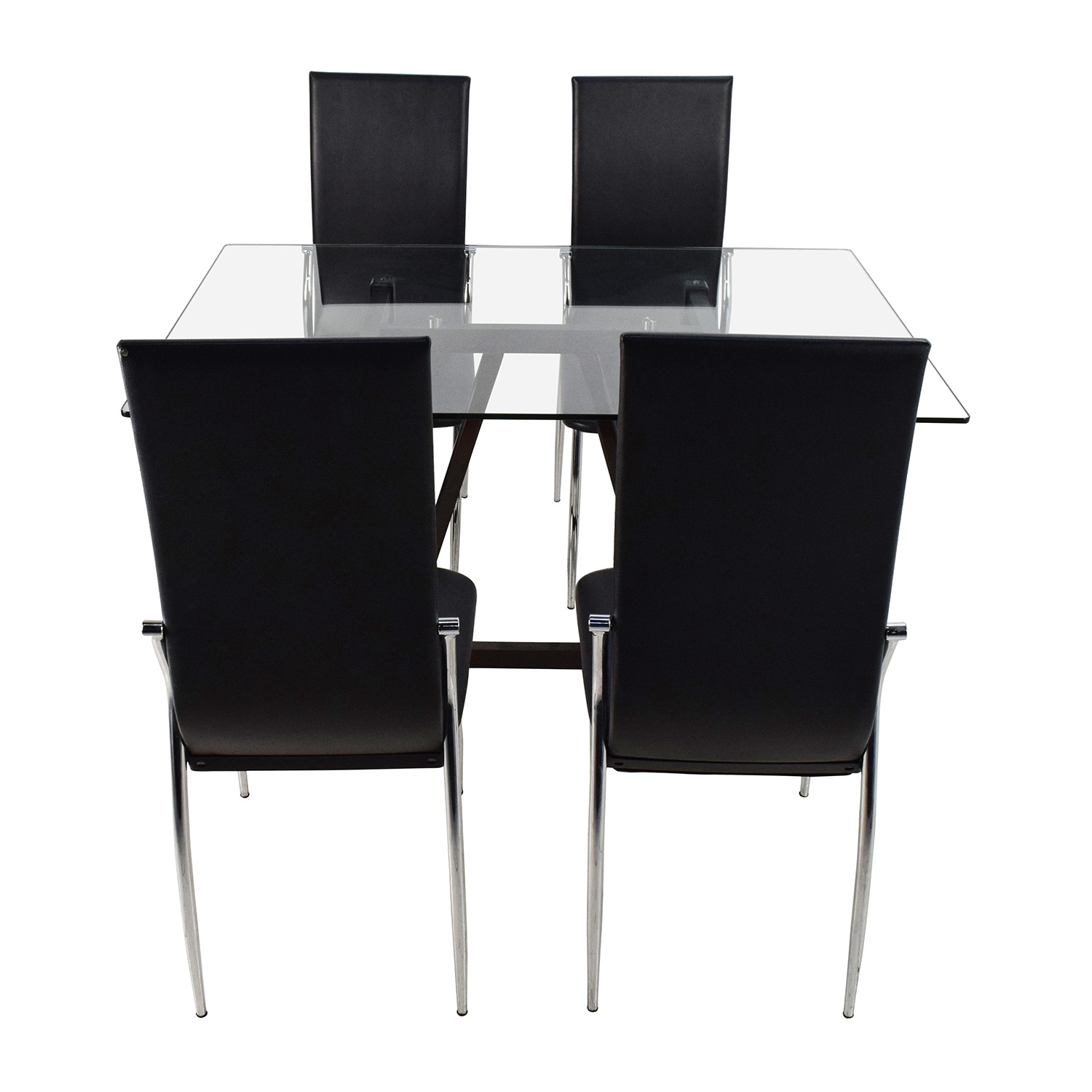 dining table with leather chairs folding for outside use 61 off glass top and tables