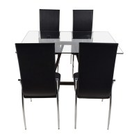 61% OFF - Glass Top Dining Table and Leather Chairs / Tables