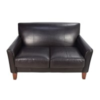 50% OFF - Brown Roll Arm Leather Loveseat / Sofas