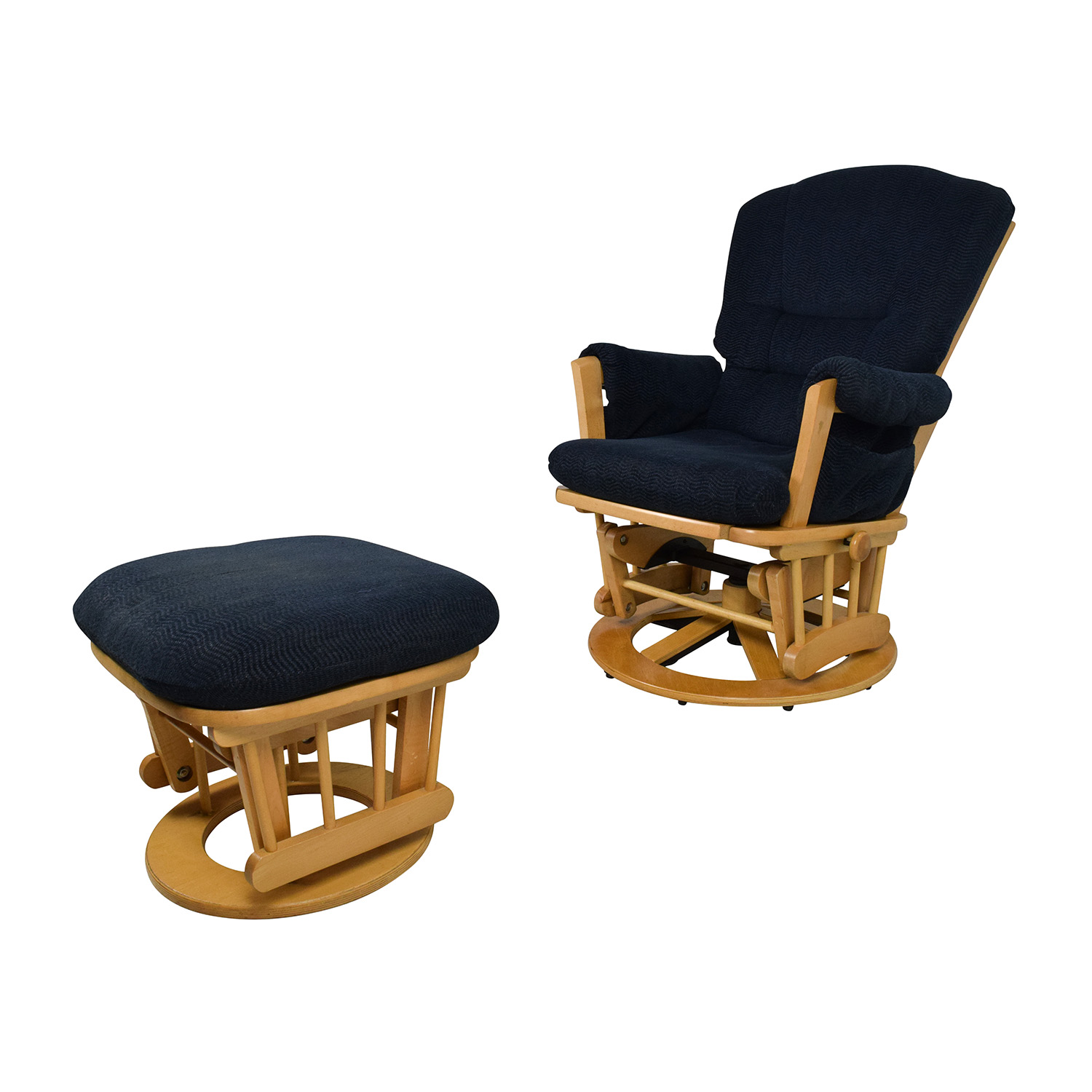 navy blue chair with ottoman office chairs zambia 76 off dutailier sleigh reclining glider