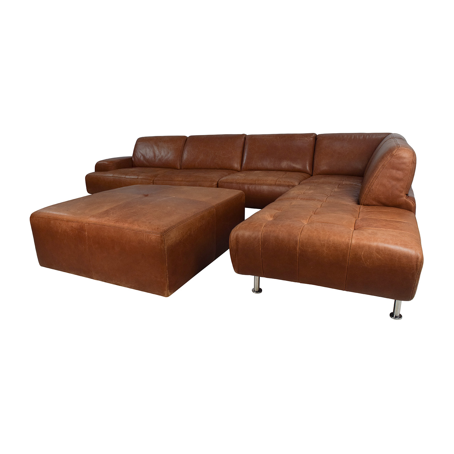 53 OFF WSchillig W Schillig Leather Sectional And Ottoman Sofas