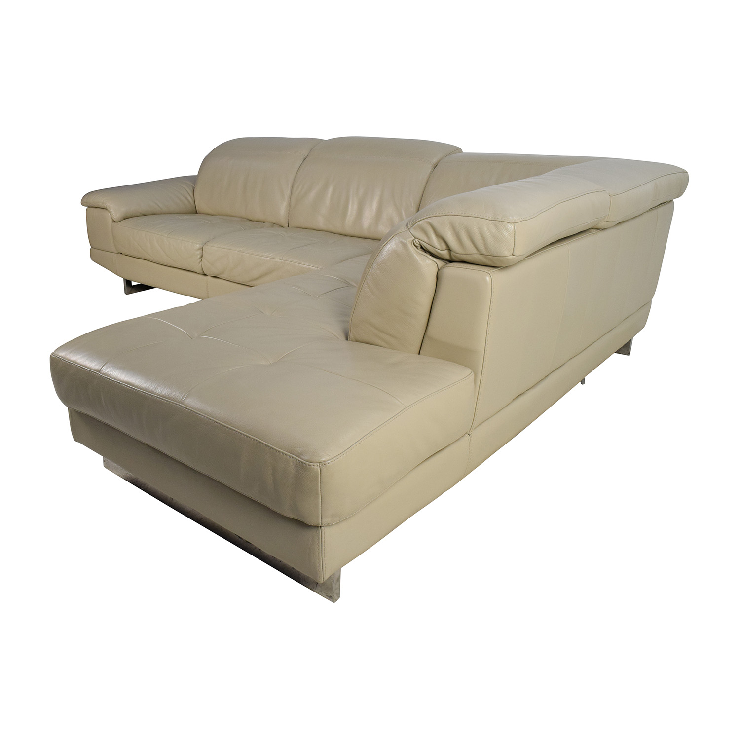 beige and brown leather sectional sofa with built in footrests newport gwent 83 off italian couch adjustable