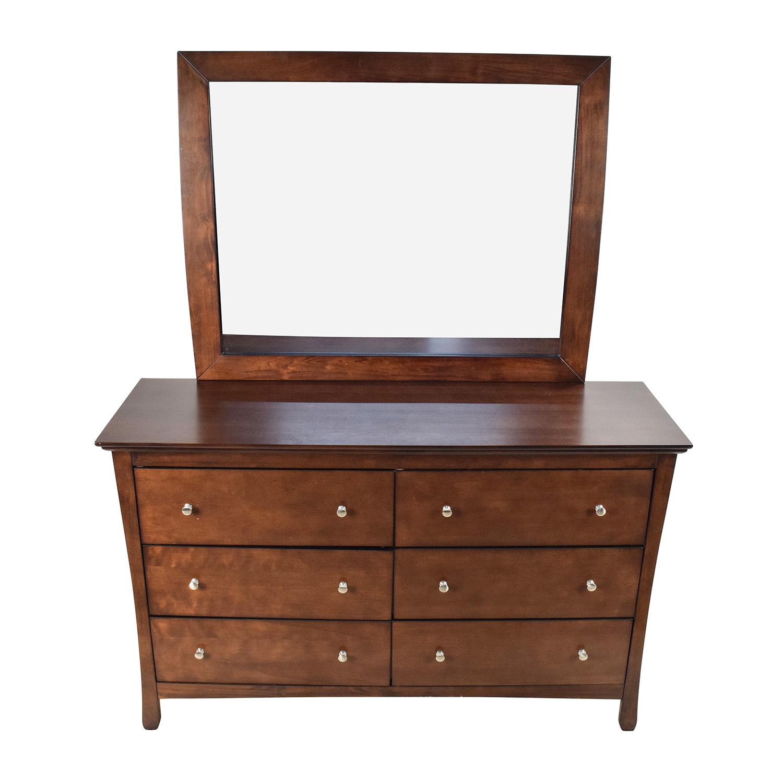 57 OFF  Large Brown Wood Dresser with Mirror  Storage