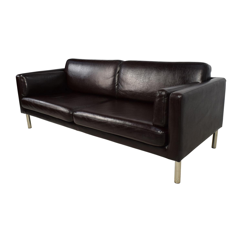 sofas with legs rv air mattresses 76 off brown leather sofa chrome
