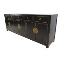 85% OFF - Custom Made Black Drawer and Cabinet Sideboard ...