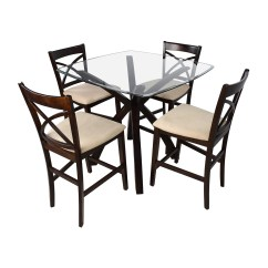 Dining Chair Sets Of 4 Recliner Sofa 53 Off Counter Height Glass And Wood Table With Four