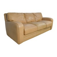 78% OFF - Beige Three Seat Leather Sofa / Sofas