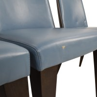 90% OFF - Potocco Potocco Blue Leather Dining Chairs / Chairs