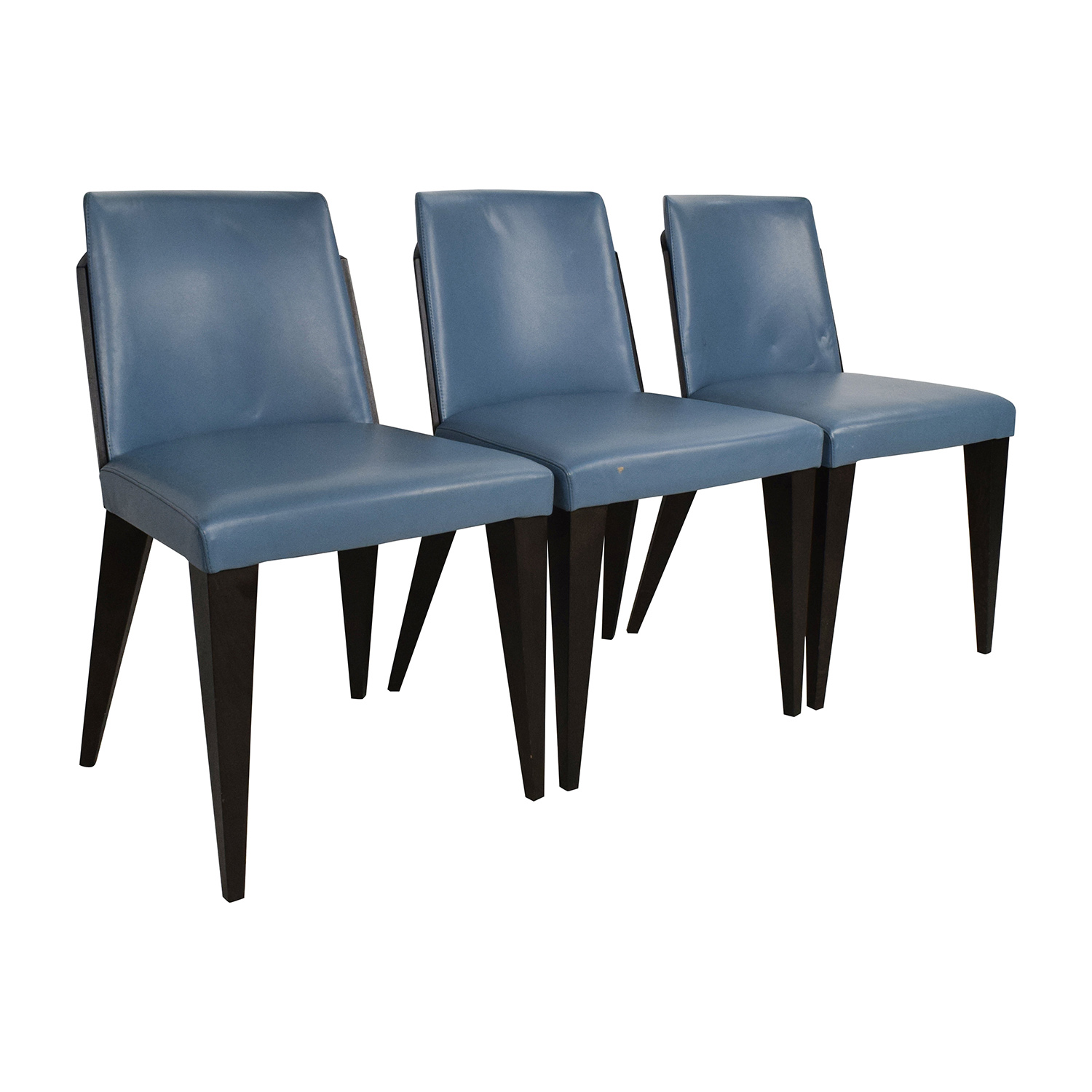 90 OFF  Potocco Potocco Blue Leather Dining Chairs  Chairs
