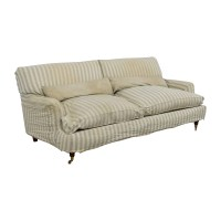 90% OFF - Green and White Striped English Roll-arm Sofa ...
