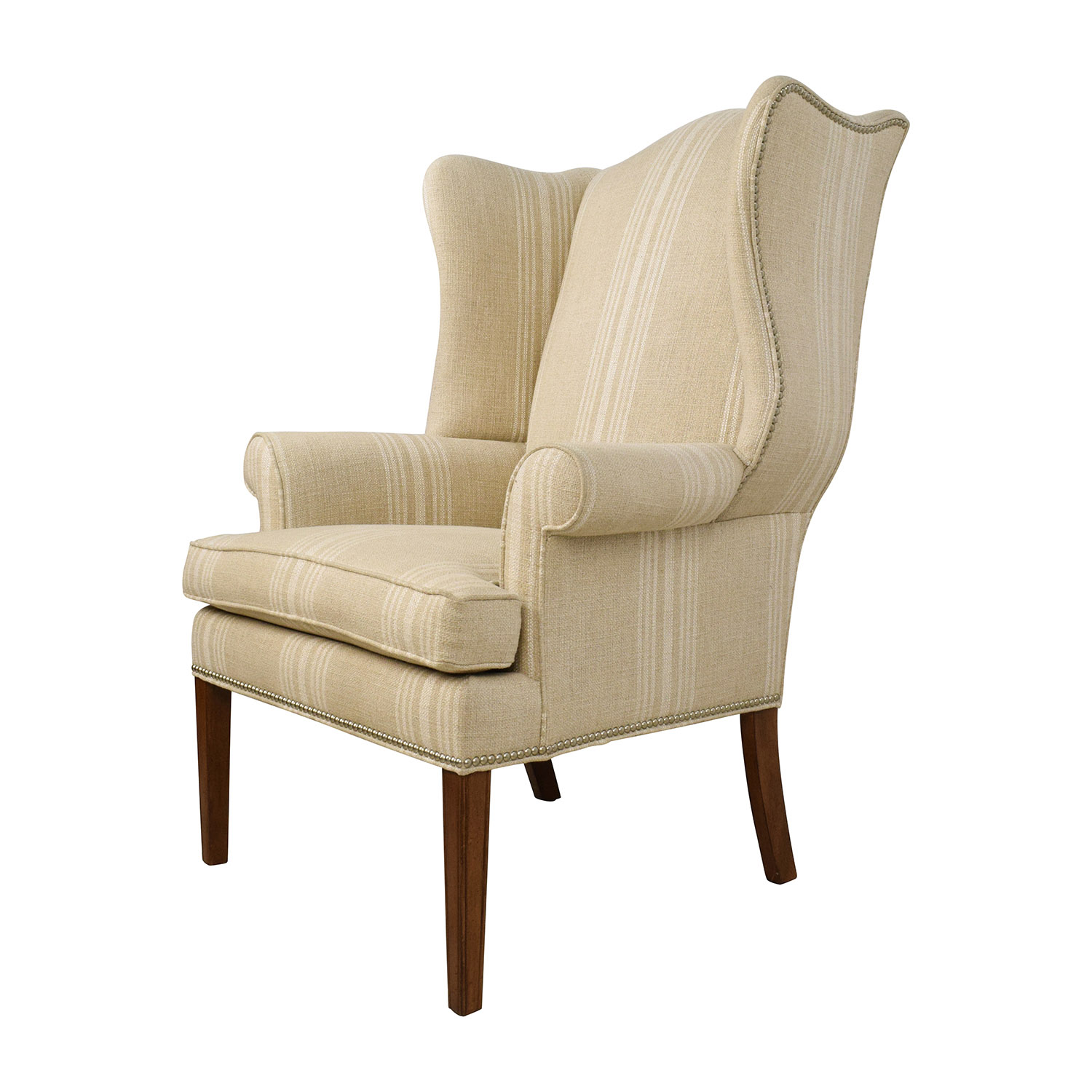 ethan allen wingback chairs discount patio chair cushions 88 off skylar stripped wing