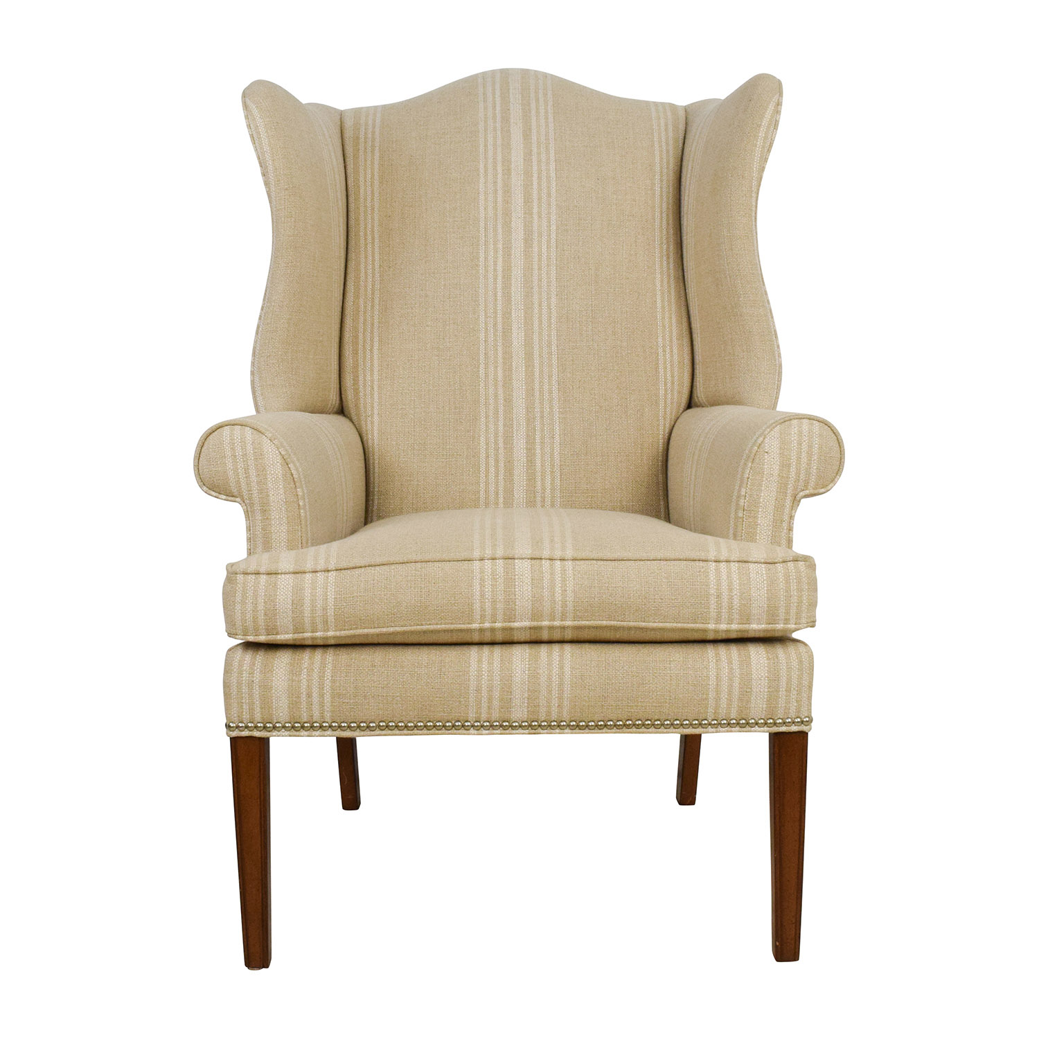 Ethan Allen Club Chairs Ethan Allen Skylar Stripped Wing Chair