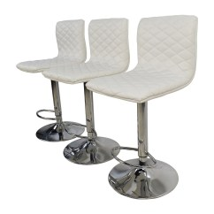 Stool Chair Second Hand Bedroom Ball 74 Off White Quilted Bar Chairs