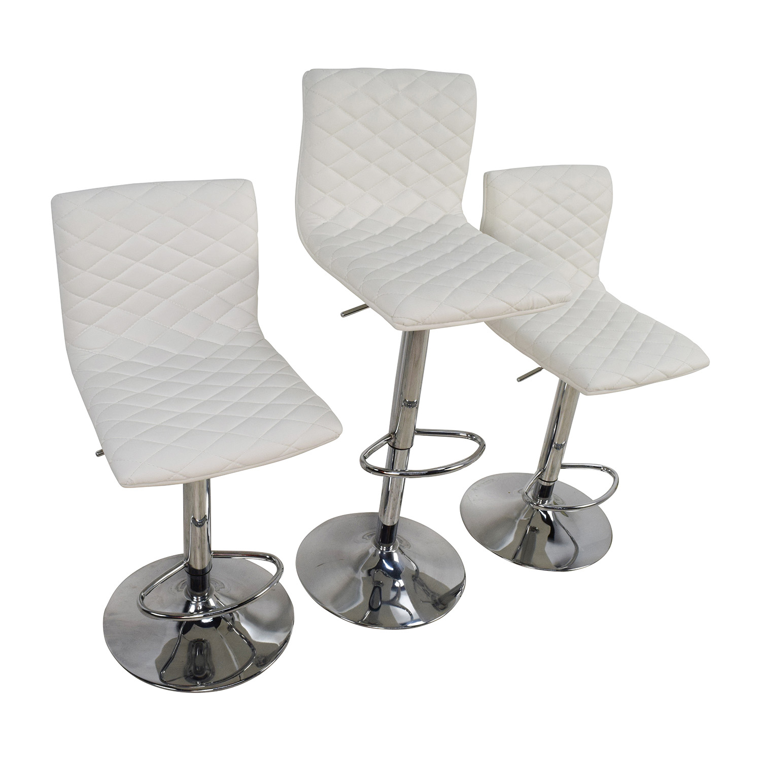 stool chair second hand mid century modern dining table and chairs 74 off white quilted bar