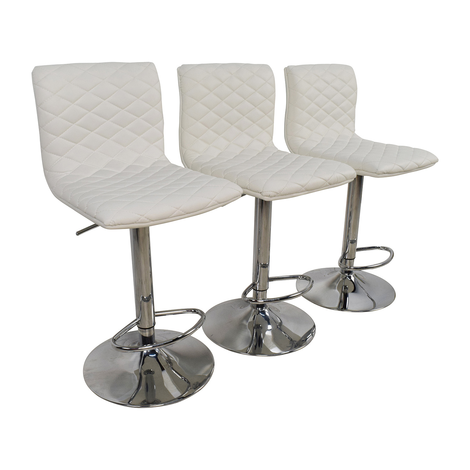 Bar Stool Chair 74 Off White Quilted Bar Stool Chairs Chairs