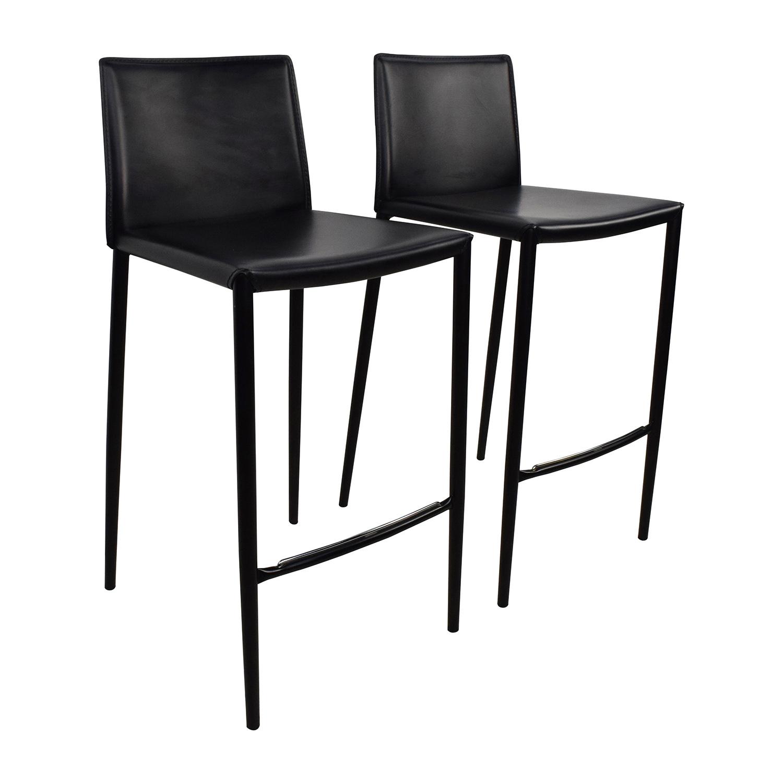 black bar stool chairs wooden cushion chair 80 off calligaris boheme leather
