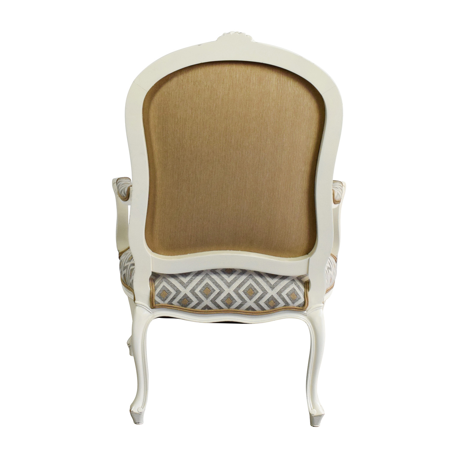 White Arm Chairs 90 Off White Frame French Upholsterd Arm Chair Chairs