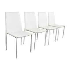White Leather Chairs Dining Mia Moda High Chair 77 Off All Modern