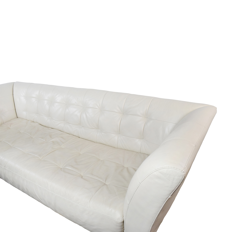 white leather on tufted sofa tempurpedic city sleeper 86 off macy 39s modern