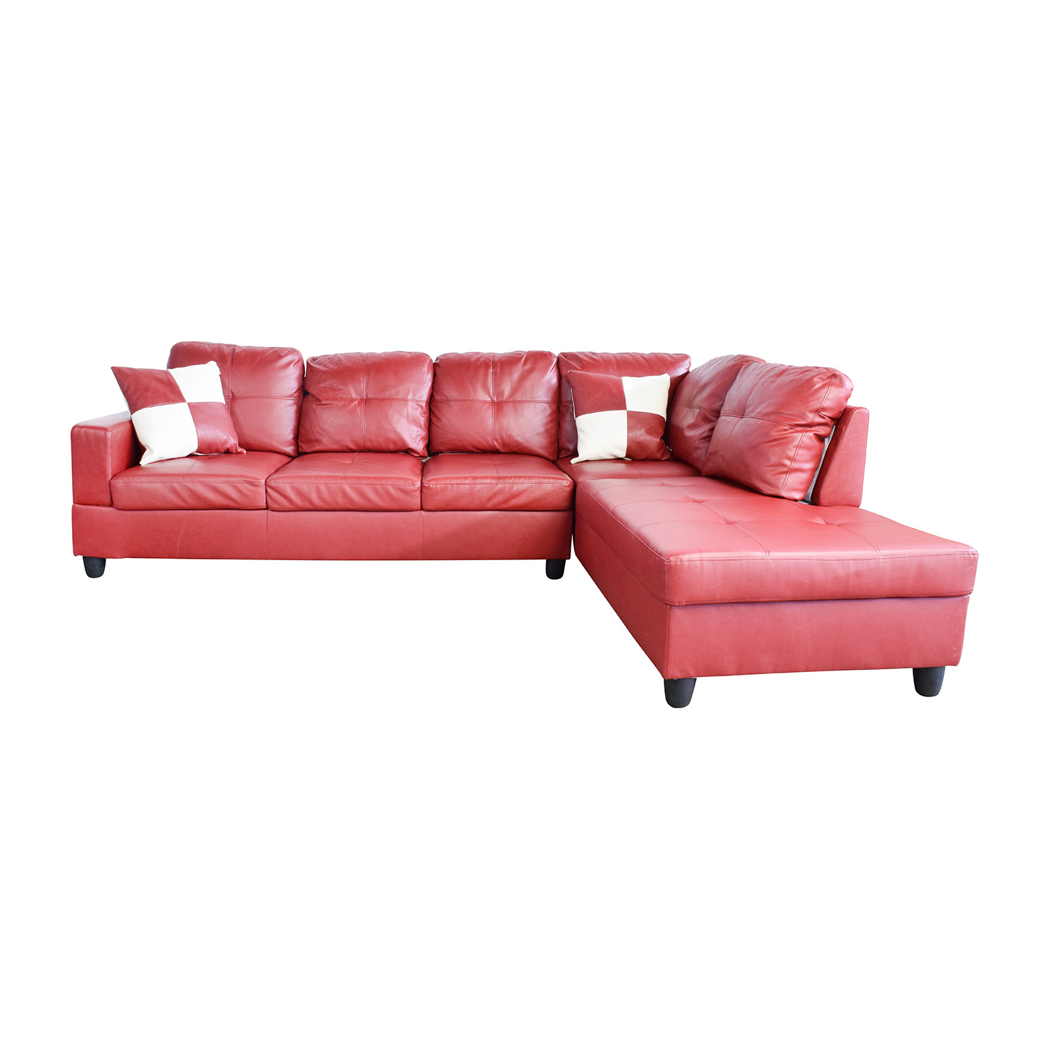 red sectional sofa sure fit 2 piece slipcover 76 off beverly furniture faux
