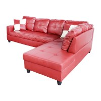 Awesome Leather Sectional sofa Red