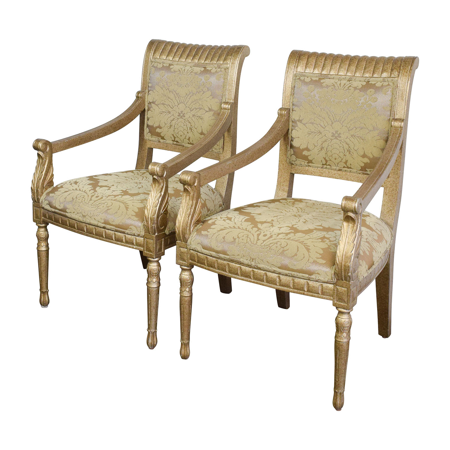 Upholstered Accent Chairs With Arms 80 Off Rustic Gold Upholstered Arm Accent Chairs Chairs