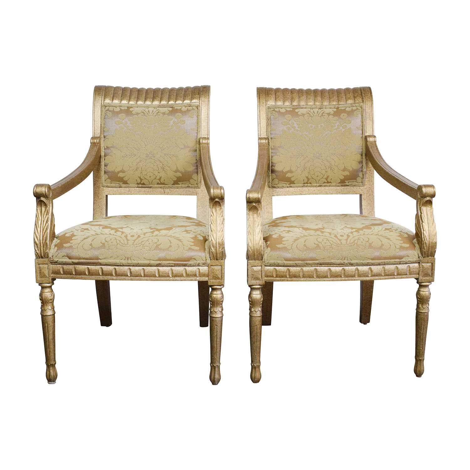 80 OFF  Rustic Gold Upholstered Arm Accent Chairs  Chairs