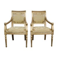 80% OFF - Rustic Gold Upholstered Arm Accent Chairs / Chairs