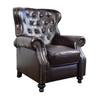 58% OFF - Tufted Brown Leather Recliner / Chairs