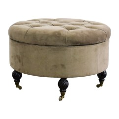 Chairs With Storage Ottoman Used Power Wheel 55 Off Frontgate Round Tufted