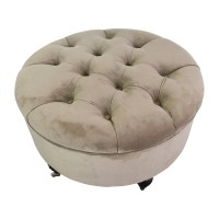 55% OFF - Frontgate Frontgate Round Tufted Storage Ottoman ...