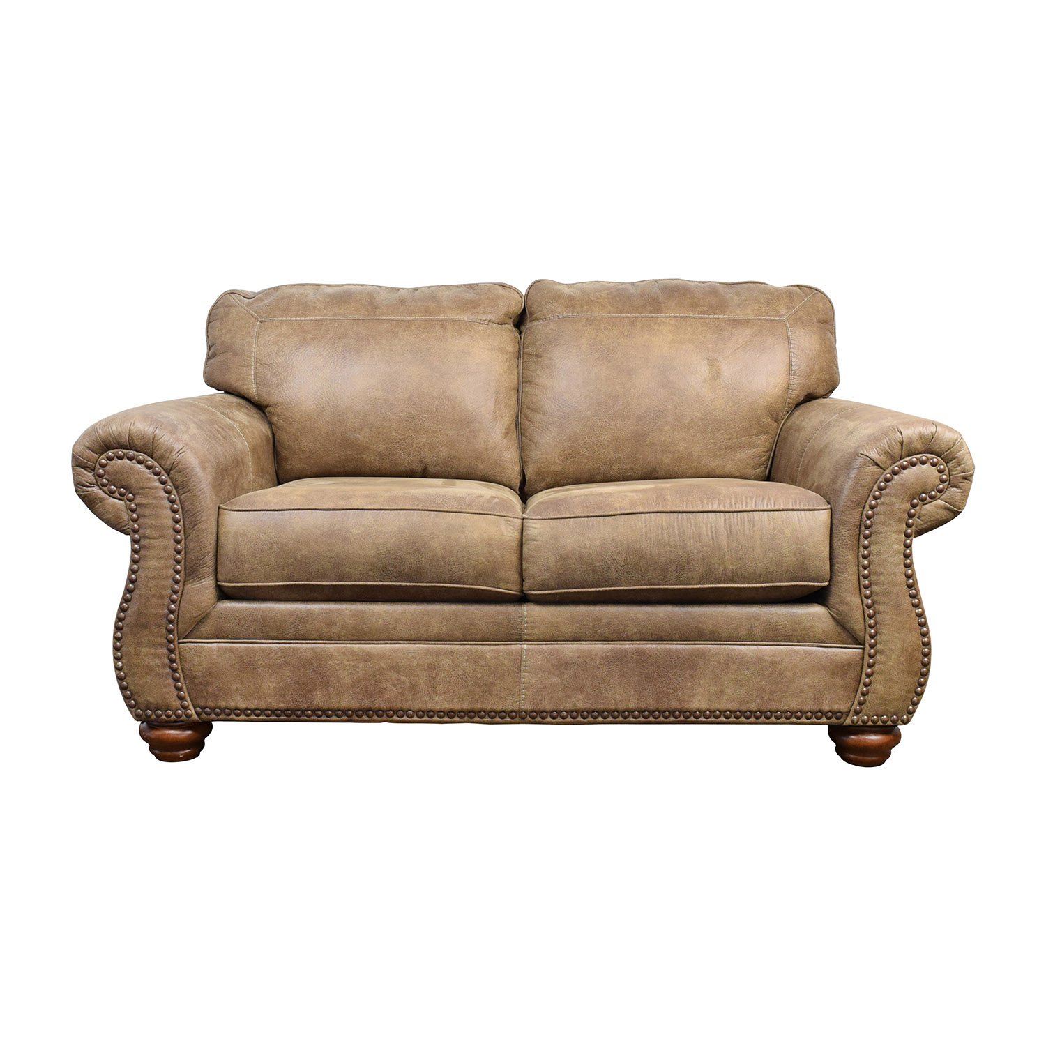 Faux Leather Sofa And Loveseat Brown Fabric Traditional